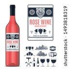 vector vintage rose wine label...   Shutterstock .eps vector #1493818319