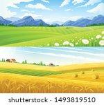 farm scene summer rural... | Shutterstock .eps vector #1493819510