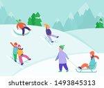 kids riding sledding slide.... | Shutterstock .eps vector #1493845313