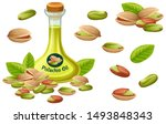 set pistachio oil  seed and... | Shutterstock .eps vector #1493848343