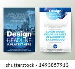 blue brochure cover flyer... | Shutterstock .eps vector #1493857913