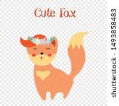 cute fox in flower wreath... | Shutterstock .eps vector #1493858483