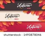 autumn leaves background.... | Shutterstock .eps vector #1493878046