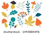 autumn colorful leaves set... | Shutterstock .eps vector #1493884496