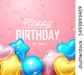 happy birthday background with... | Shutterstock .eps vector #1493893409