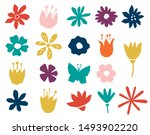 floral paper cut shapes in red  ... | Shutterstock .eps vector #1493902220
