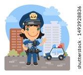 A Cartoon Smiling Policewoman...