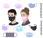 colorful air pollution face... | Shutterstock .eps vector #1493929433