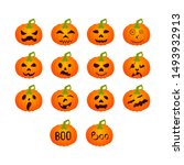 set of pumpkin icons with...   Shutterstock .eps vector #1493932913