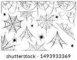 big vector set of cobwebs and... | Shutterstock .eps vector #1493933369