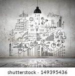 drawn business plan on wall...   Shutterstock . vector #149395436