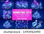 ultraviolet isometric city set... | Shutterstock .eps vector #1493962490