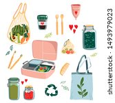 zero waste concept set with... | Shutterstock .eps vector #1493979023