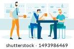 friends drinking beer flat... | Shutterstock .eps vector #1493986469