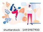 cartoon people with sandglass... | Shutterstock .eps vector #1493987900