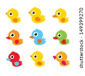 cute duck vector - stock vector