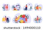 woman on diet set. idea of... | Shutterstock .eps vector #1494000110