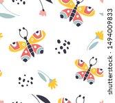 colorful folk vector seamless... | Shutterstock .eps vector #1494009833