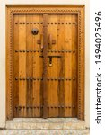 A Carved Wooden Door  At The...