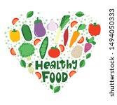healthy vegetables food heart...   Shutterstock . vector #1494050333