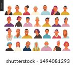 real people portraits set  ... | Shutterstock .eps vector #1494081293