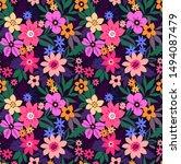 trendy seamless vector floral...   Shutterstock .eps vector #1494087479