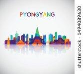 pyongyang skyline silhouette in ...   Shutterstock .eps vector #1494089630
