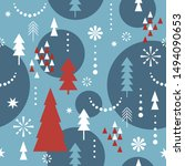 seamless christmas pattern.... | Shutterstock .eps vector #1494090653
