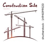 Construction site tower cranes. Vector freehand draw