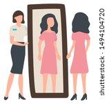 woman tries on dress near... | Shutterstock .eps vector #1494104720