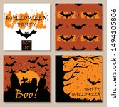 halloween card set with... | Shutterstock .eps vector #1494105806
