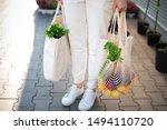 Girl Is Holding Mesh Shopping...