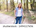 Active Elderly Woman Walks...