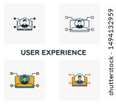 user experience icon set. four...