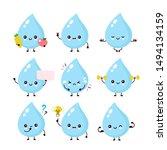 cute smiling happy water drop... | Shutterstock .eps vector #1494134159