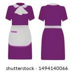 Purple Maid Uniform. Vector...