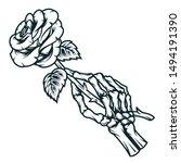 skeleton hand holding rose... | Shutterstock .eps vector #1494191390
