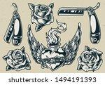 Vintage Monochrome Tattoos Set...