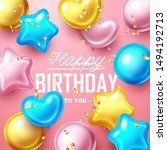 happy birthday background with... | Shutterstock .eps vector #1494192713