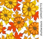 pumpkin and maple leaves... | Shutterstock .eps vector #1494195773