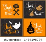 halloween greeting cards set.... | Shutterstock . vector #1494195779