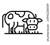 Cow Side View Icon. Outline Co...