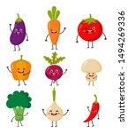 set of cute funny cartoon... | Shutterstock .eps vector #1494269336