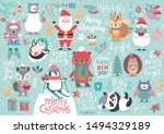 Stock vector christmas set hand drawn style calligraphy animals and other elements vector illustration 1494329189