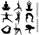Set Yoga Icon  Logo On White...