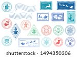 Merry Christmas Stamp. Santa...