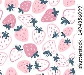strawberry vector seamless... | Shutterstock .eps vector #1494356099