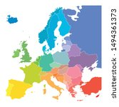 Map Of Europe In Colors Of...