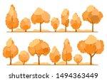 set of flat autumn trees.... | Shutterstock .eps vector #1494363449