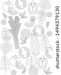 vector image with healthy  food ... | Shutterstock .eps vector #1494379130